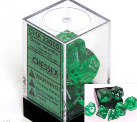 Polyhedral 7-Die Translucent Dice Set - Green