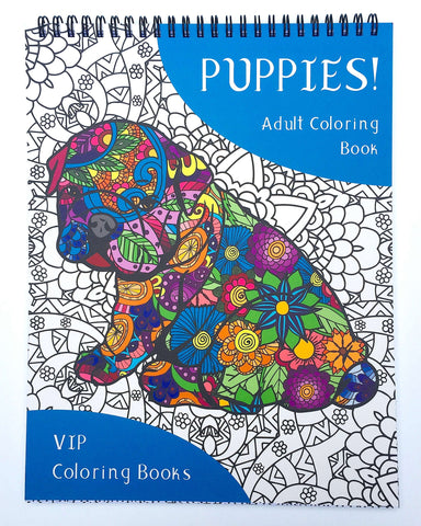 """Puppies! Adult Coloring Book"""
