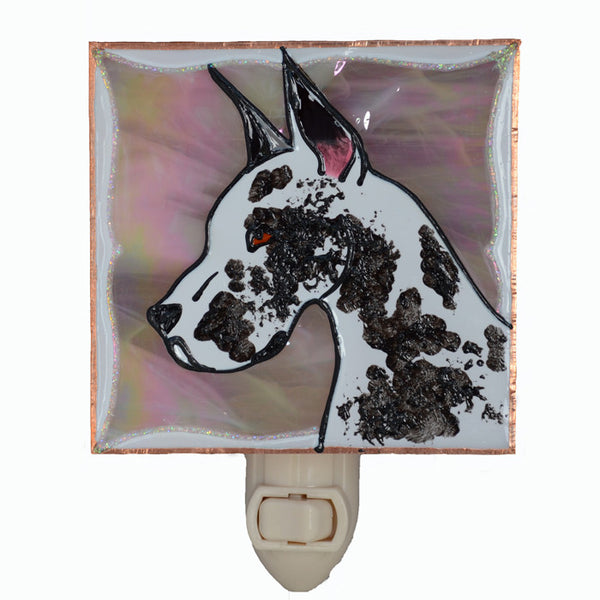 """Stained Glass Great Dane Night Light"" - Harlequin Dane, w/peach background"