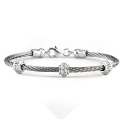 Bling! Diamond Rondel Cable Bangle Bracelet