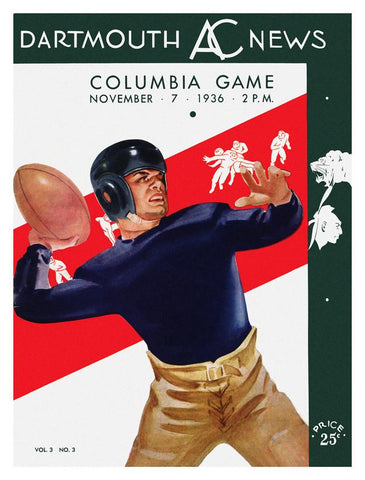 1936 Dartmouth Big Green vs Columbia Lions 30x40 Canvas Historic Football Poster