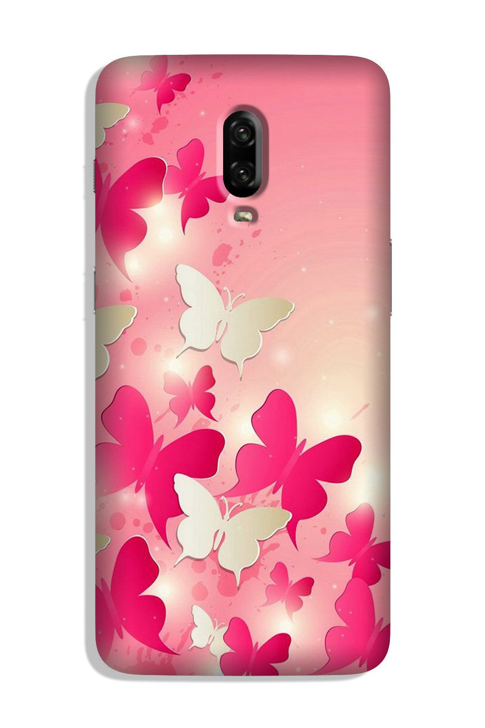 White Pick Butterflies Case for OnePlus 6T