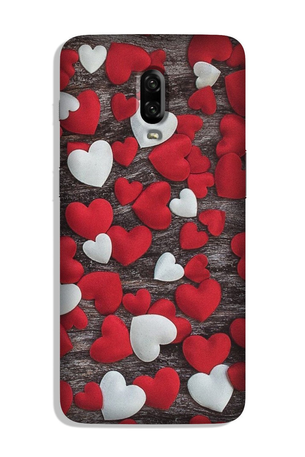 Red White Hearts Case for OnePlus 6T  (Design - 105)