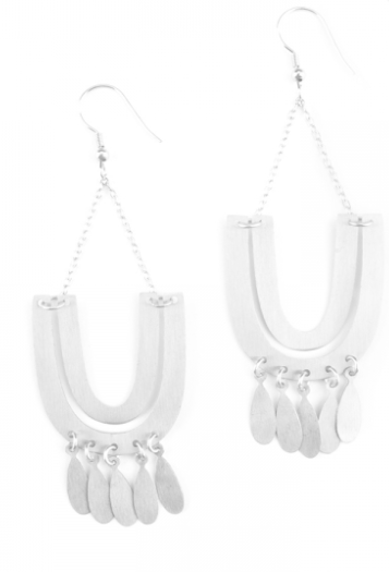 Mantra Statement Earrings silver