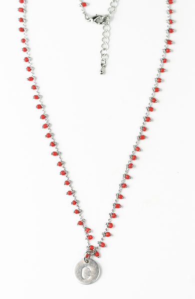 Jillery Beaded Charm Initial Necklace - Girl Intuitive