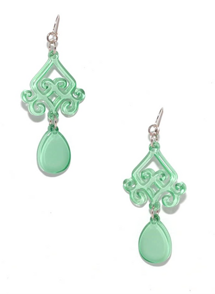 Scroll and Drop Earrings mint