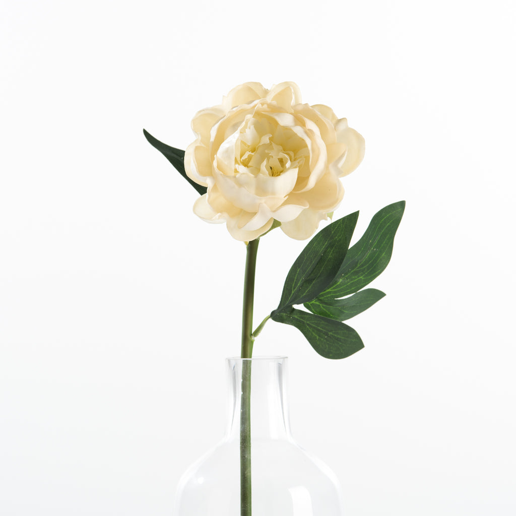 fake white peony flower stem