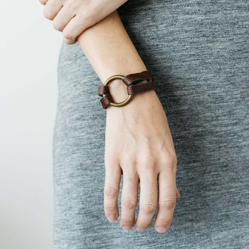 dark brown leather bracelet with mini brass ring