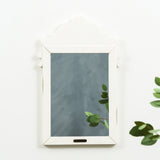 white wooden decorative mirror