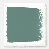 Dark aqua blue blended with a bit of ashy sage green exterior paint