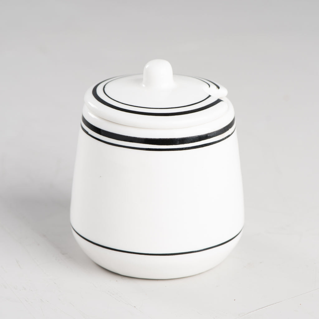 white striped ceramic sugar bowl with lid