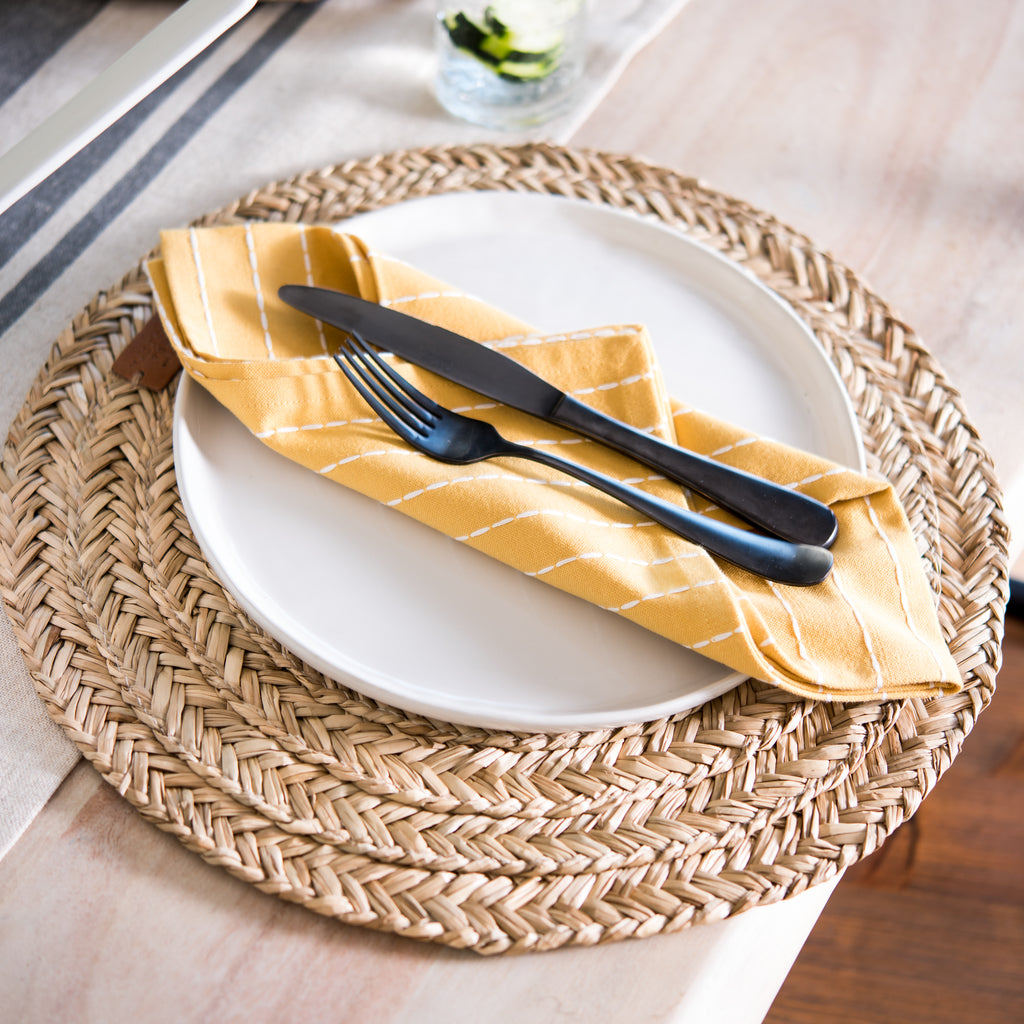 yellow and white striped cotton napkin