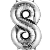 Large Number 8 Balloon - Silver
