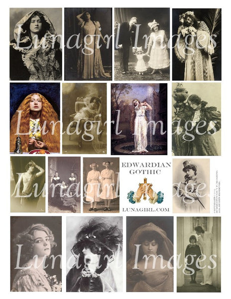 Edwardian Gothic Digital Collage Sheet - Lunagirl