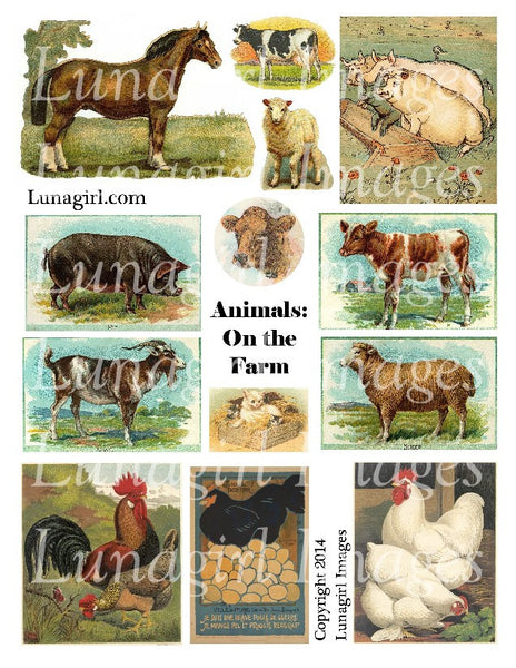 Animals: On the Farm Digital Collage Sheet - Lunagirl