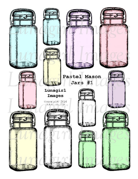 Pastel Mason Jars #1 Digital Collage Sheet - Lunagirl