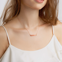 'Heart' (Self-Love) Engraved Silver Bar Chain Necklace (4 Finishes) | White Rhodium, 24k Gold, 18k Rose Gold, Black Rhodium - Bar Jewellery - KryptikRose®