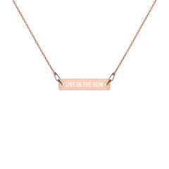 'Live In The Now' Engraved Silver Bar Chain Necklace (4 Finishes) | White Rhodium, 24k Gold, 18k Rose Gold, Black Rhodium - Bar Jewellery - KryptikRose®
