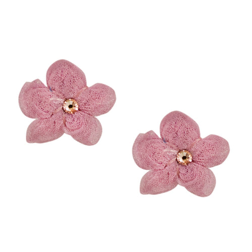 Silk Flower Earrings by Cécile Boccara - Dusty Rose