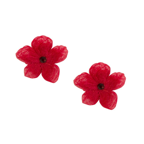 Silk Flower Earrings by Cécile Boccara - Red