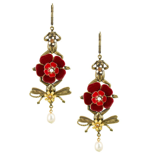 Whimsical Frogs and Flower Statement Earrings by Eric et Lydie