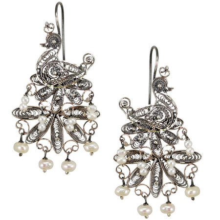 Dragonfly Silver Filigree Earrings from Oaxaca