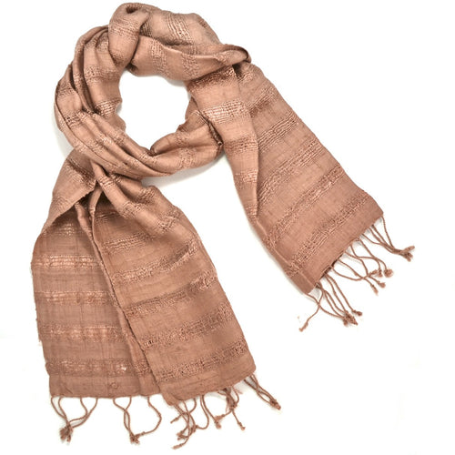 Cambodian Handwoven Raw Silk Scarf -  Mauve