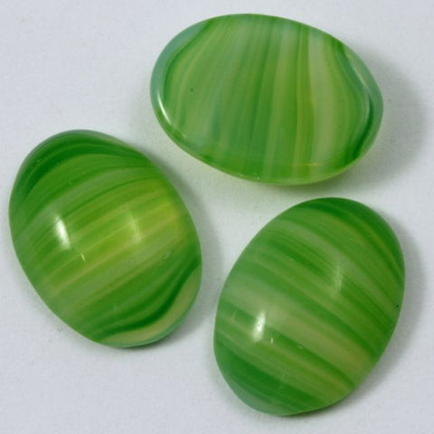 13mm x 18mm Light Green Stripe Oval Cabochon #376-General Bead