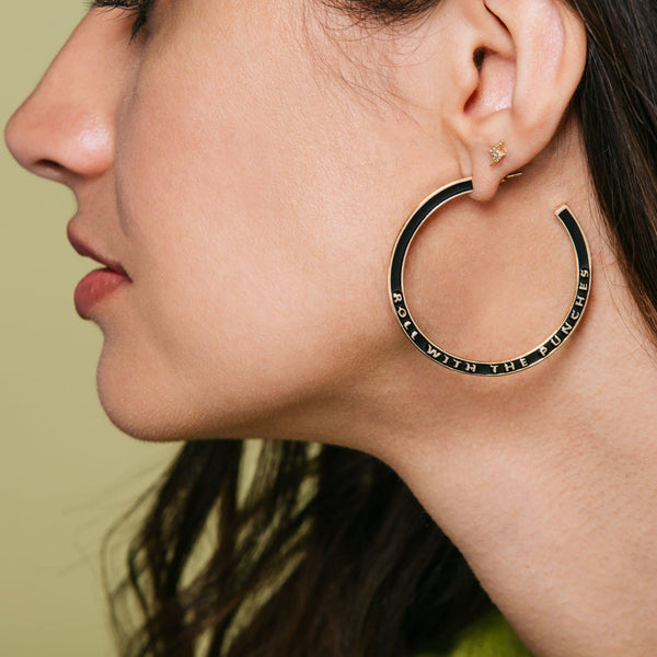 Roll with the Punches Enamel Hoop Earrings