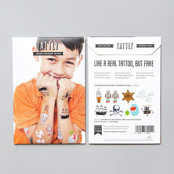 Tattly Set Kids Mix One Tattoos