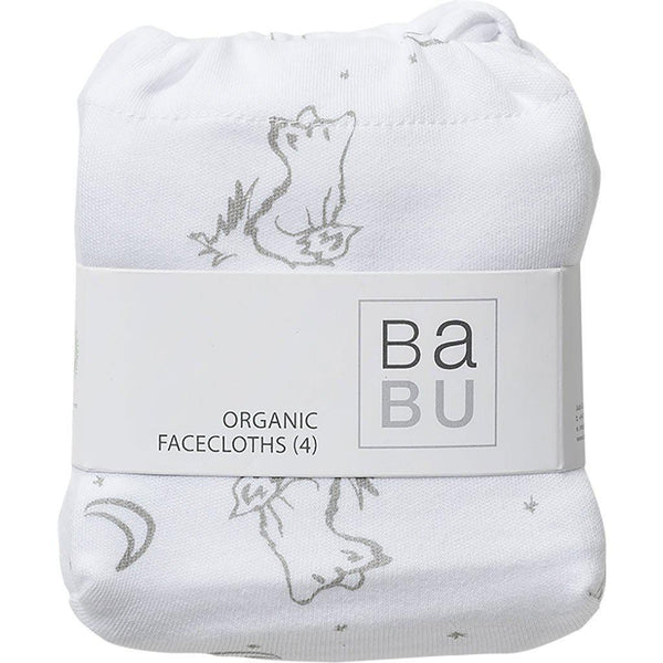 Babu | Organic Cotton | Face Washers | 4 Pack | Fox | Grey Wash Cloths Babu Grey