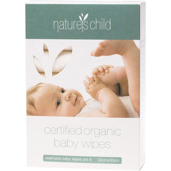 Natures Child - Organic Cotton - Washable Baby Wipes - 8 Pack Wash Cloths Natures Child