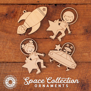 2018 Outer Space Collection of Handmade Personalized Wooden Christmas Ornaments by Graphic Spaces