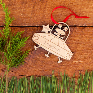 Handmade original UFO alien flying saucer space Christmas ornament personalized & engraved in wood by Graphic Spaces