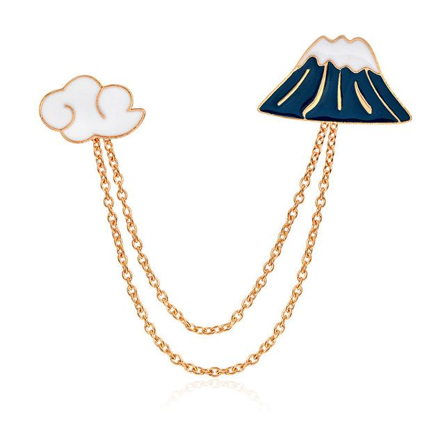 Mount Fuji in the Clouds Brooch Pin-Shelfies-| All-Over-Print Everywhere - Designed to Make You Smile