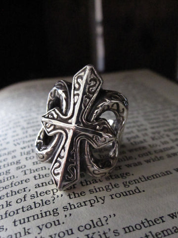 925 Silver large cross ring