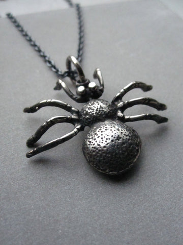 Oxidised 925 Silver Spider necklace