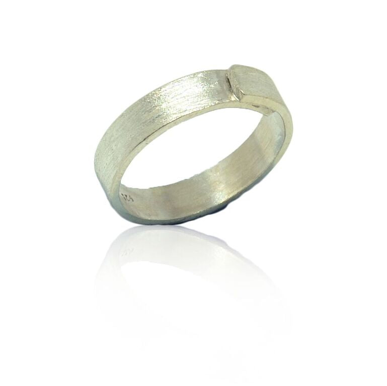 925 Solid Silver Brushed Finish Overlap Band