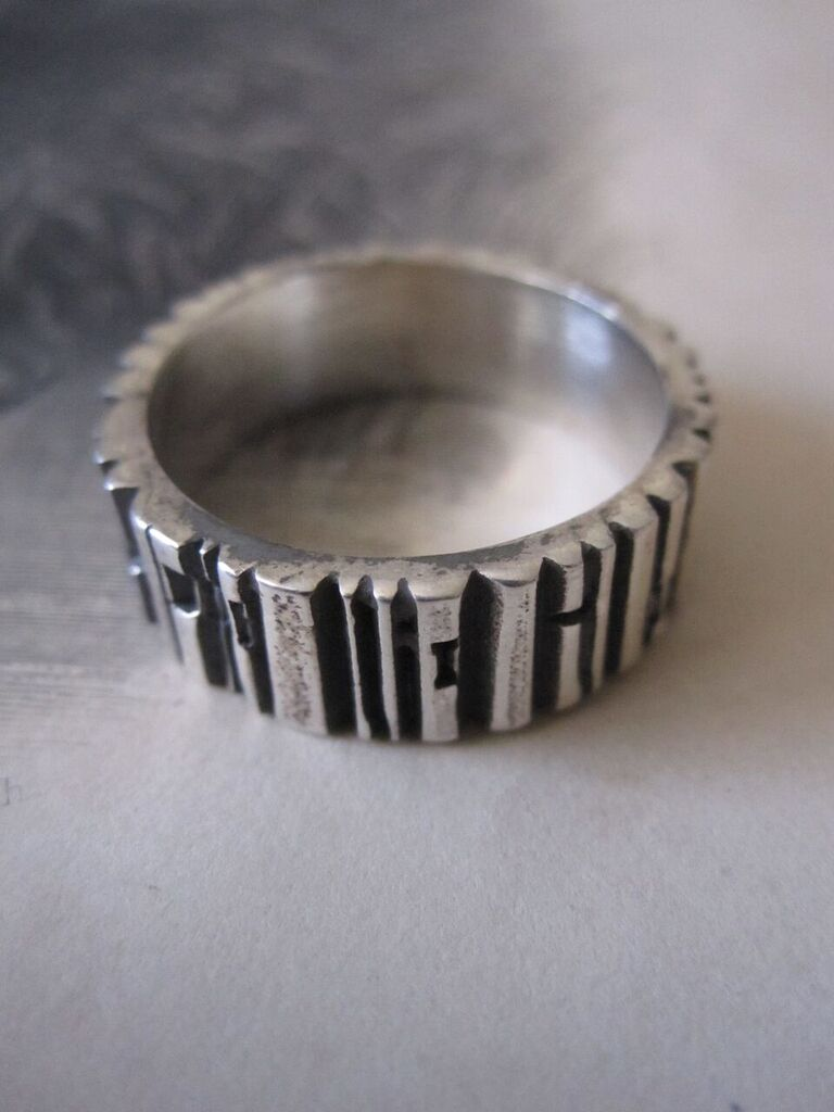 925 Silver Bark textured finish Band