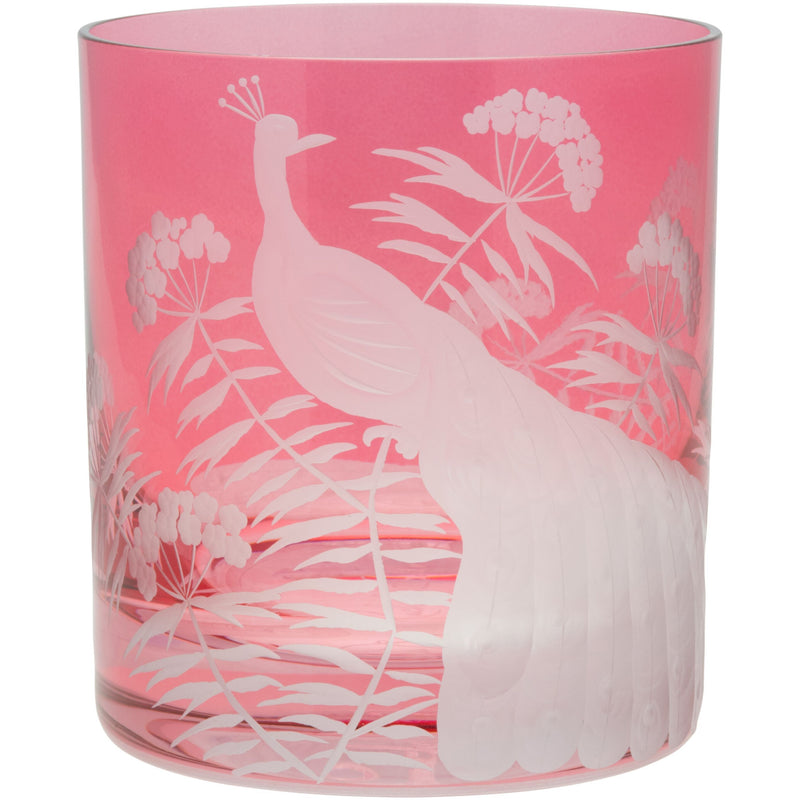 Moira Peacock & Blossom Double Old Fashioned Tumbler - Rose Pink