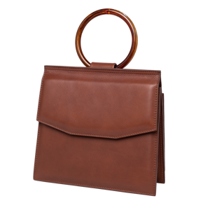 Shellac is a gorgeous crossbody handbag. A limited edition ethically handcrafted in Barcelona in calf leather in brown color. Sustainable design.