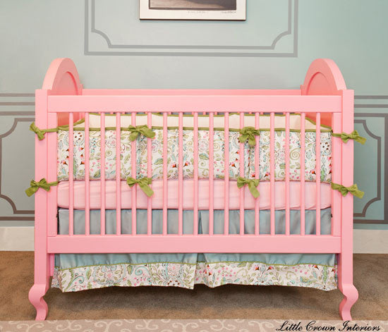 5 examples of great crib bedding for colored cribs.