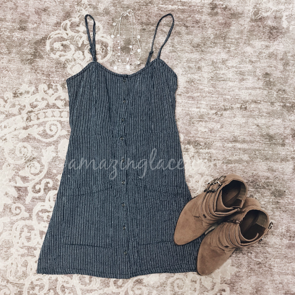 BLUE DRESS AND TAN BOOTIES OUTFIT