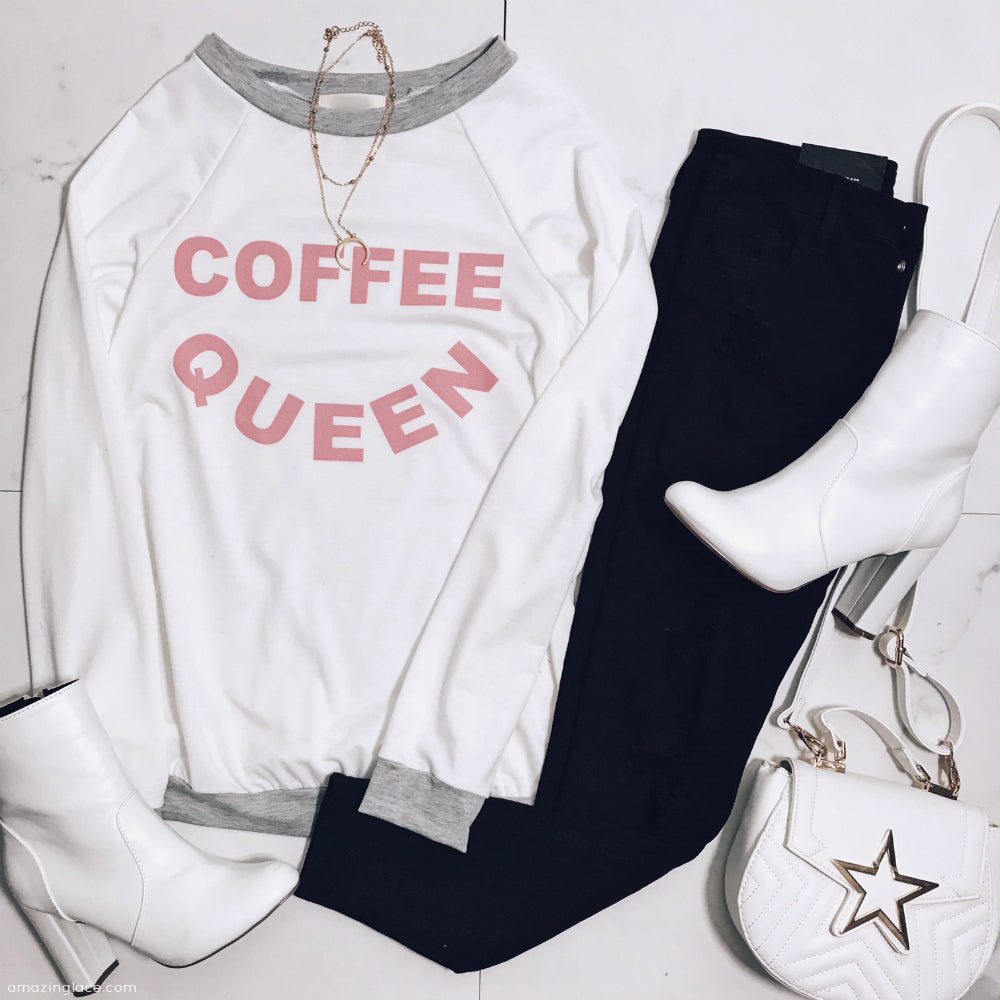 COFFEE QUEEN WHITE AND PINK TOP WITH BLACK PANTS OUTFIT