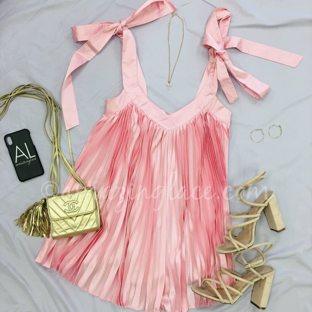 PINK PLEATED ROMPER OUTFIT
