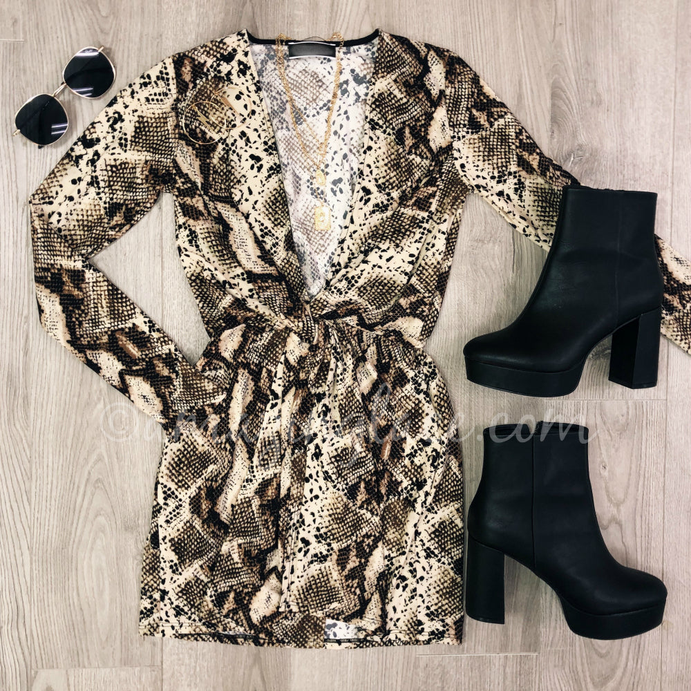 SNAKE PATTERN DRESS AND CHINESE LAUNDRY BOOTS OUTFIT
