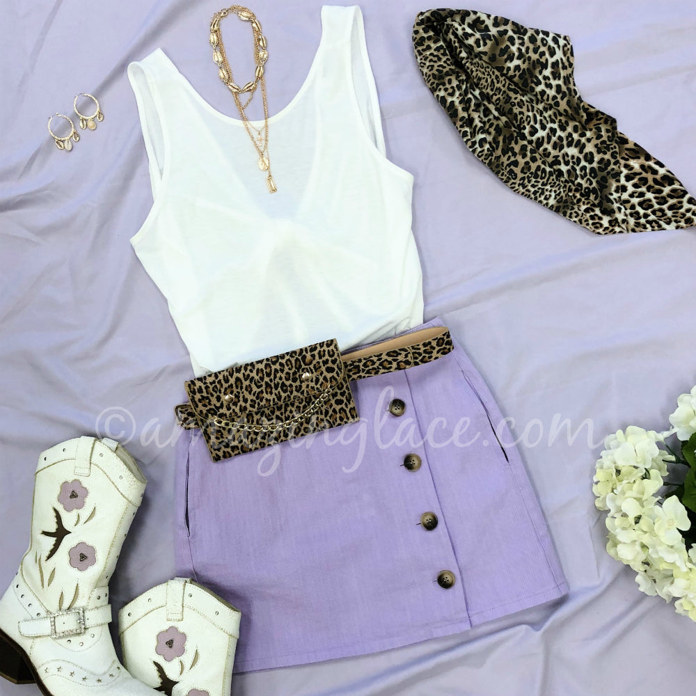 WHITE CROP TANK AND LAVENDER SKIRT OUTFIT