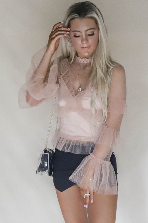 Sweet Lies Blush Mesh Ruffle Top