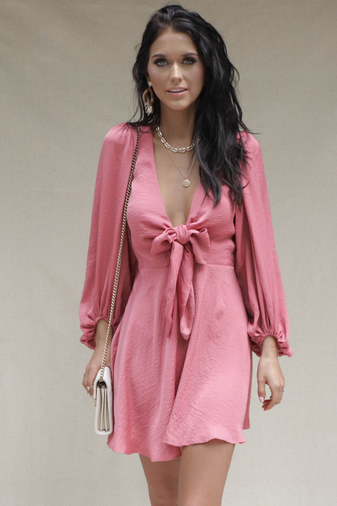 Rushing In Rose Satin Front Tie Dress