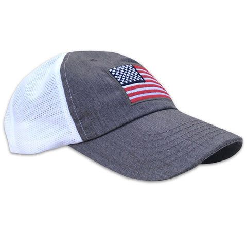 American Flag Snap Back Heather Gray - Trucker Hat